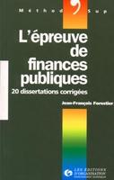 Jean-François Forestier - Epreuve de finances publi