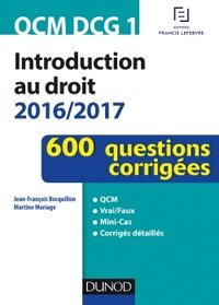 Introduction au droit - 2016-2017 - QCM DCG1