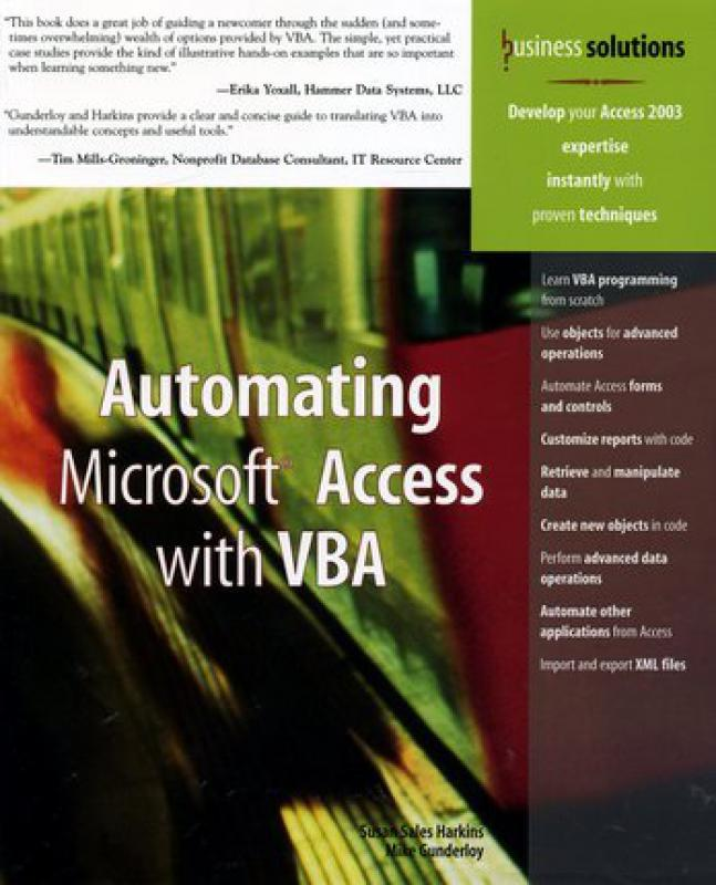 Automating Microsoft Access with VBA - S  Sales Harkins, M  Gunderloy -  Librairie Eyrolles