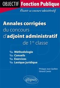 e00464dde2b Annales corrigées du concours d adjoint administratif de 1re classe ...