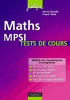 Maths - MPSI -  Tests de cours