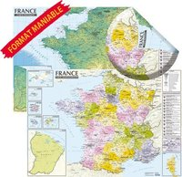 France. carte physique et administrative (murale