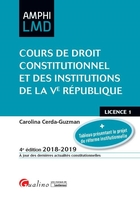 Cours de droit constitutionnel et institutions de la Ve République - 2018/2019