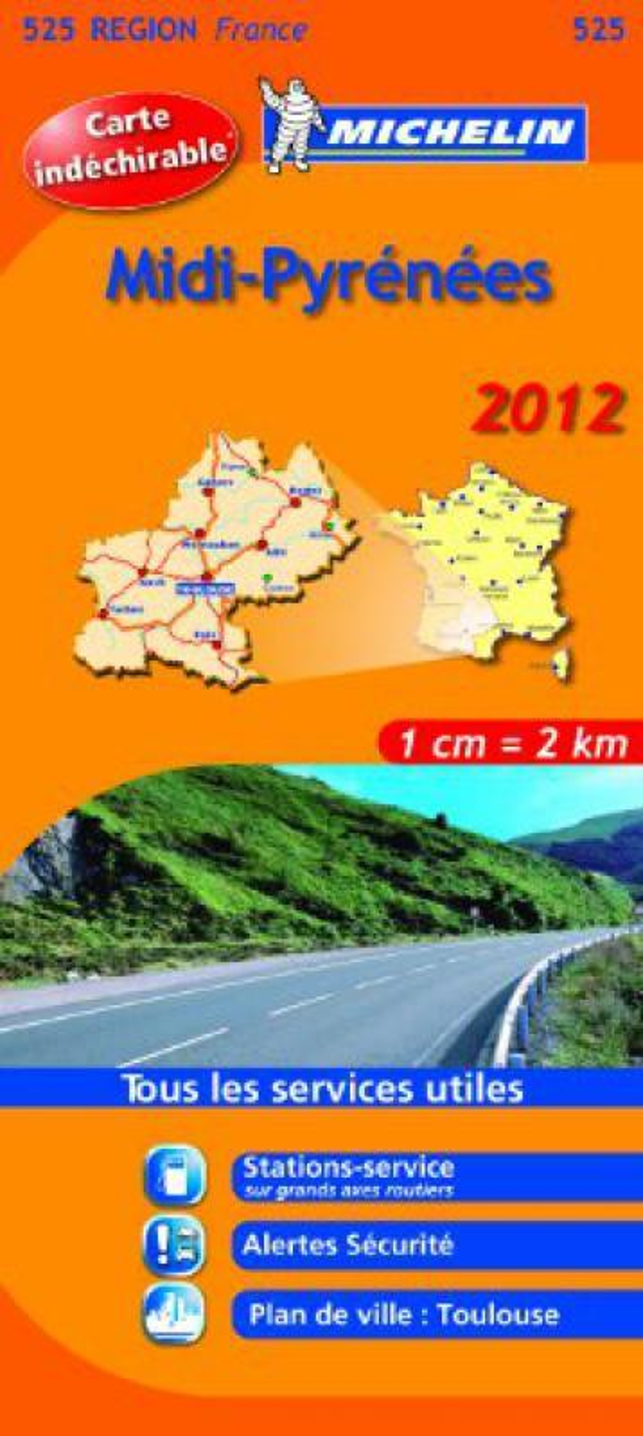 Carte Routiere 525 Midi Pyrenees Hr 2012 Librairie Eyrolles