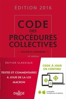 Code des procédures collectives - 2016